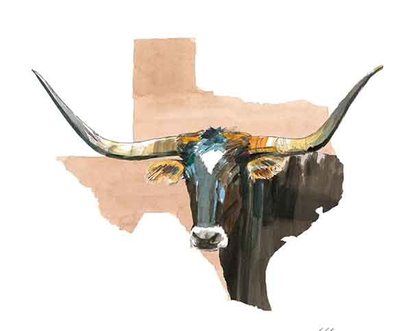 Texas Longhorn Watercolor Print (Peach)