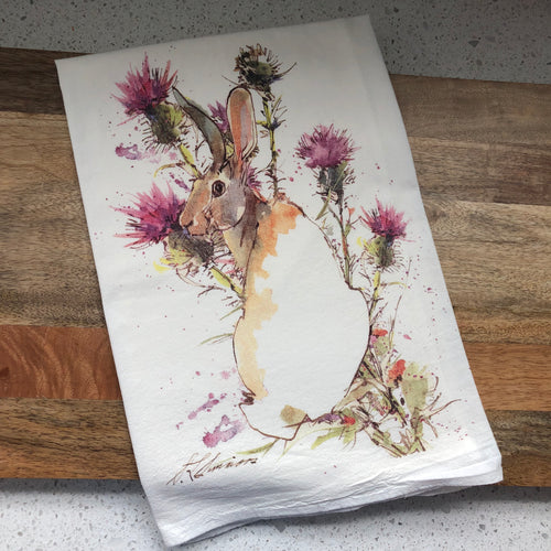 Rabbit Thistle Flour Sack Kitchen Towel
