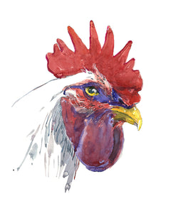 Rooster Stare Watercolor Print