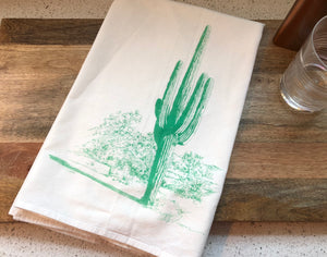 Saguaro Cactus Flour Sack Kitchen Towel