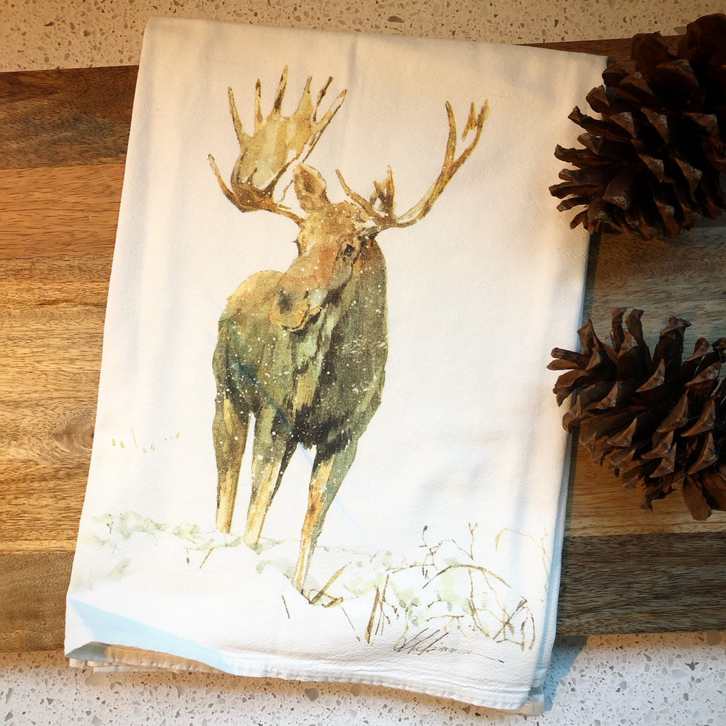 Moose Flour Sack Kitchen Towel