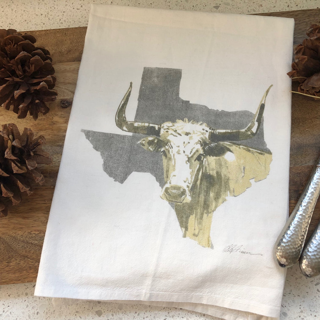 Texas Longhorn Flour Sack Kitchen Towel
