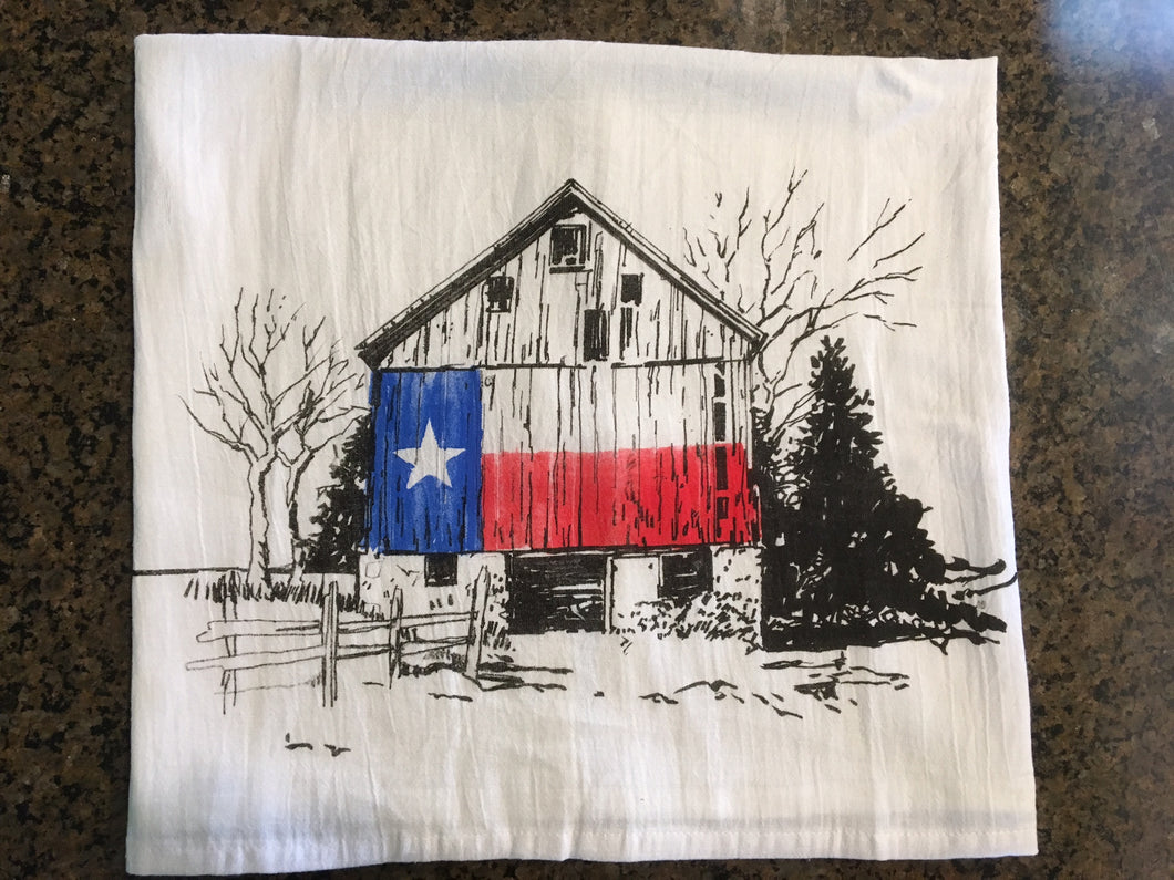 Texas Flag Barn Flour Sack Kitchen Towel