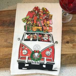 VW Bus Christmas Flour Sack Kitchen Towel
