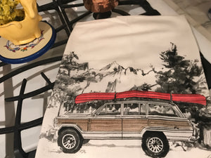 Jeep Wagoneer Canoe Flour Sack Kitchen Towel
