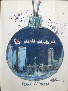 Fort Worth Skyline Christmas Flour Sack Kitchen Towel