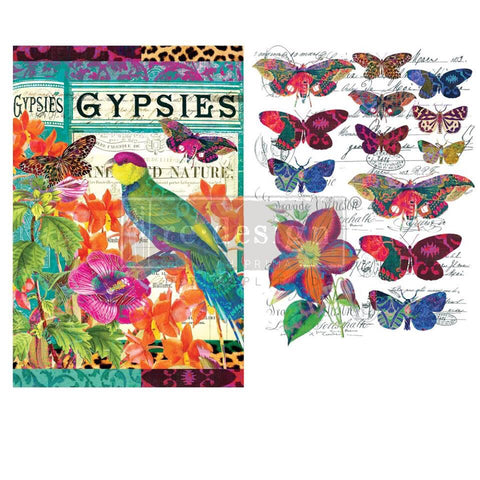 Boho Bird Butterfly transfer