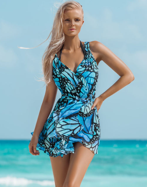 Blue Butterfly Mini Dress