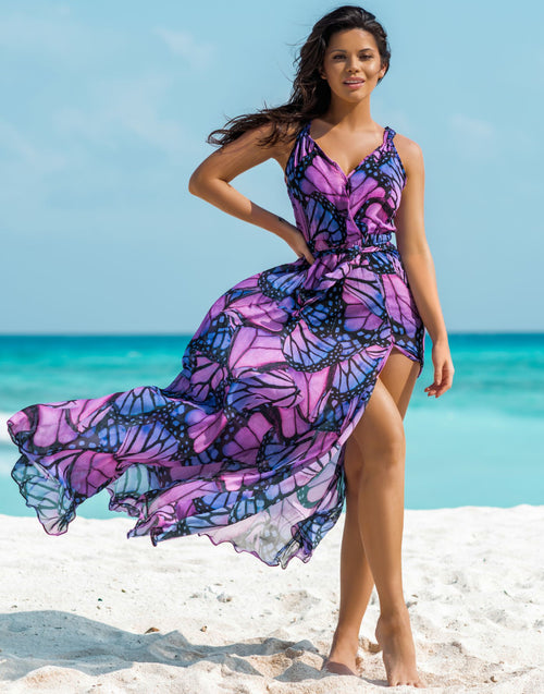 Purple Butterfly Maxi Dress