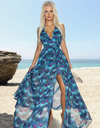 Blue Peacock Maxi Dress