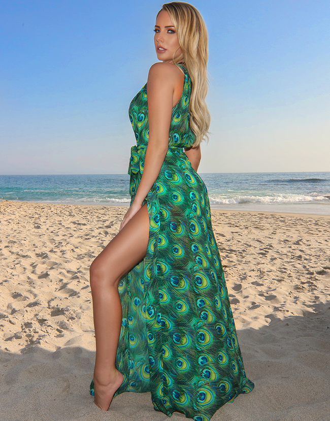 Green Peacock Maxi Dress