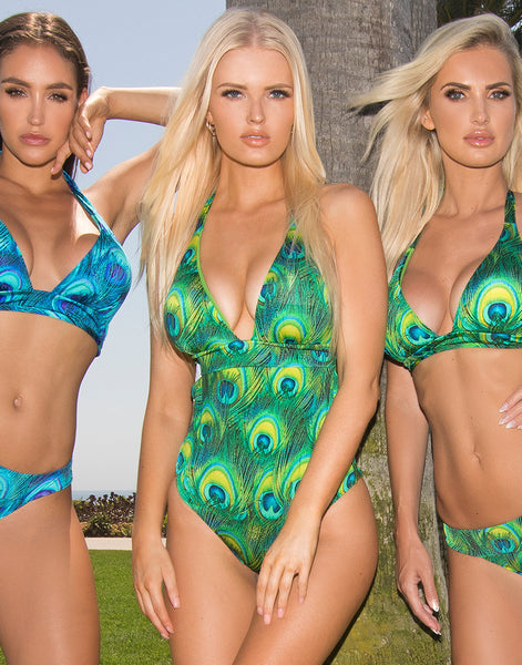 Green Peacock One Piece