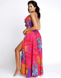 Tropic Calypso Maxi Ruffle Dress