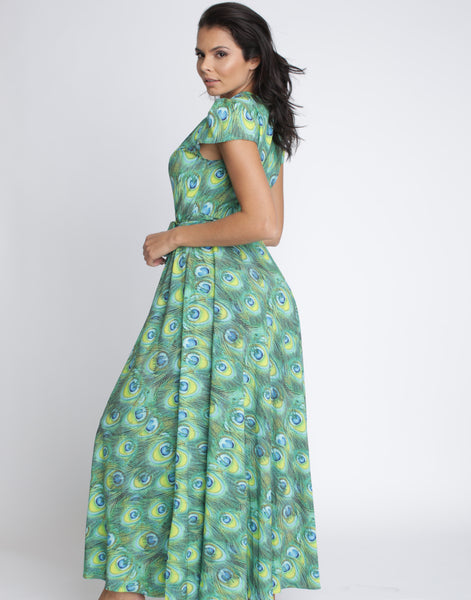 Green Peacock Wrap Dress - Long