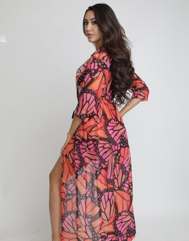 Magenta Butterfly Coverup - Long