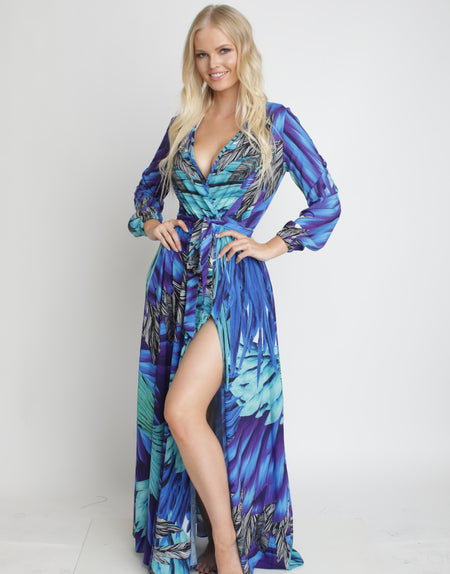 Blue Butterfly Maxi Dress