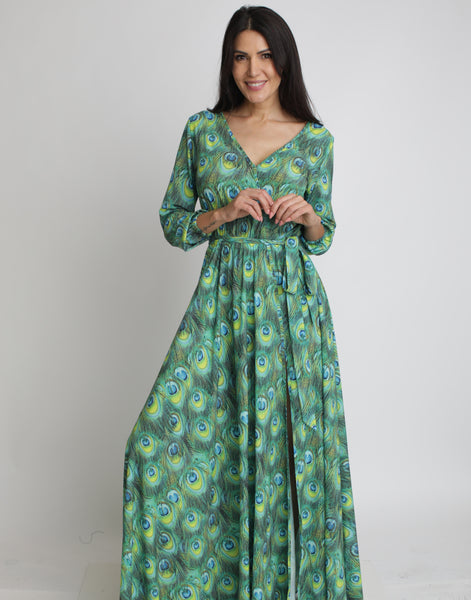 Peacock Maxi Dress (Long Sleeves)