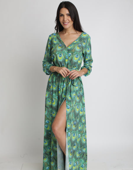 Midnight Calypso Maxi Cap Sleeve Dress