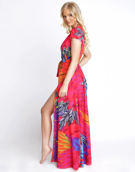 Tropic Calypso Maxi Cap Sleeve Dress