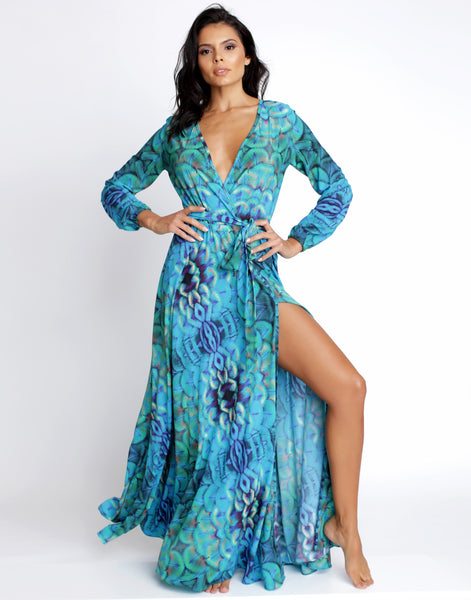 Blue Mermaid Maxi Sleeve Dress