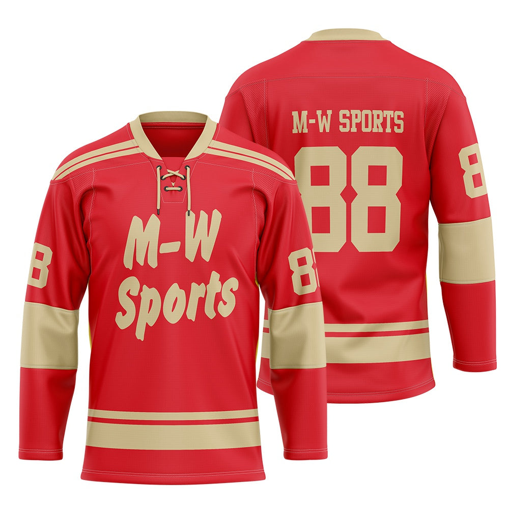 M-W Sports Latest Fashion 100% Polyester Customized Sublimation Ice Hockey Jersey