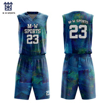 Custom Gradient Color Honeycomb Pattern Sublimation Basketball Uniforms Sublimation Jersey Reversible