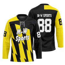 M-W Sports Sublimation Ice Hockey Jersey Custom Yellow And Black Color Hockey Jerseys