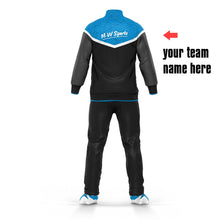 Bulk Wholesale Cheap Custom Logo Tracksuit Designs Soccer Team And Club Training Blue Tracksuits