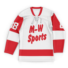 Wholesale Red And White Lace-Up Hockey Jersey Logo Name Sublimated Custom Hockey Wear