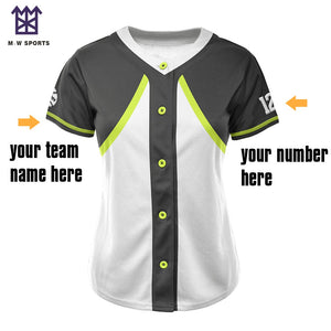 M-W Sport Newest Plaid Design Women's Baseball Jersey With Various Colors Custom Plus Size