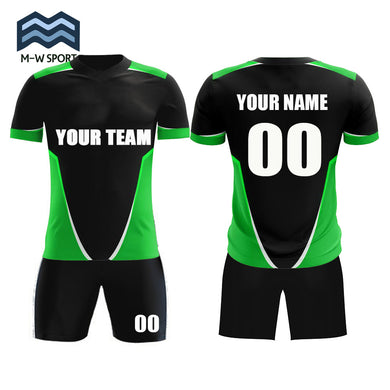 Hot sale soccer jerseys set online design custom your team uniform with your team name ,your name and number