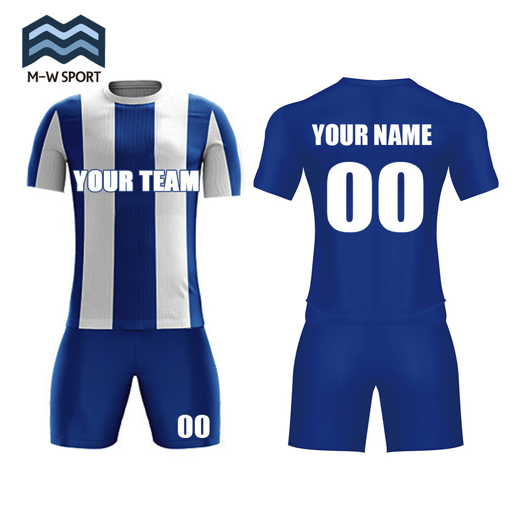 Classical Jerseys Vertical Stripe Soccer Uniform With your team name ,your name and number