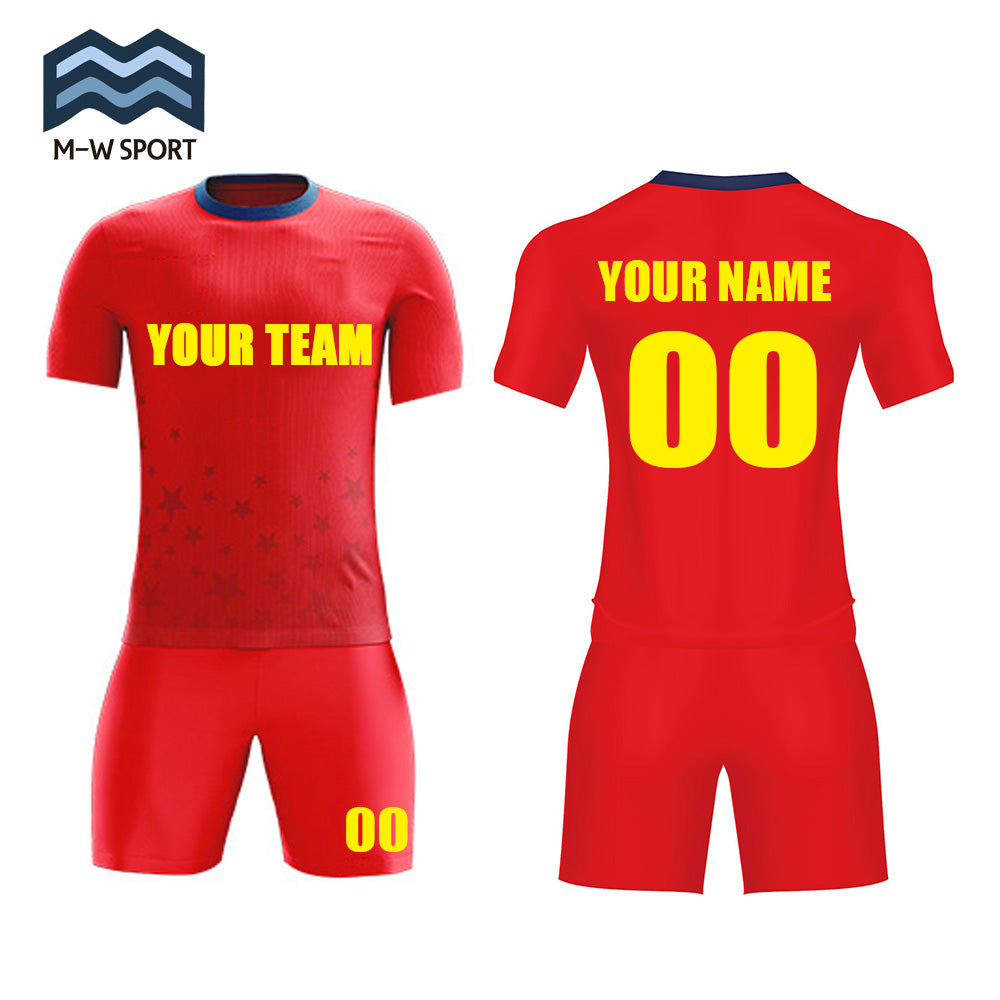 Red soccer jerseys custom team sport uniforms name and number