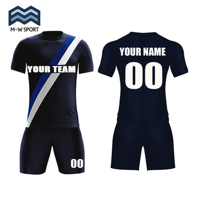 Custom Black Soccer Jerseys for men Design Diagonal Stripe Soccer Jerseys