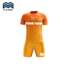 custom orange soccer jerseys with your team name and number