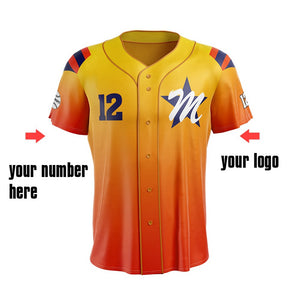 M-W Sports Baseball Jerseys Yellow And Orange Sports Clothes Custom With Name And Number