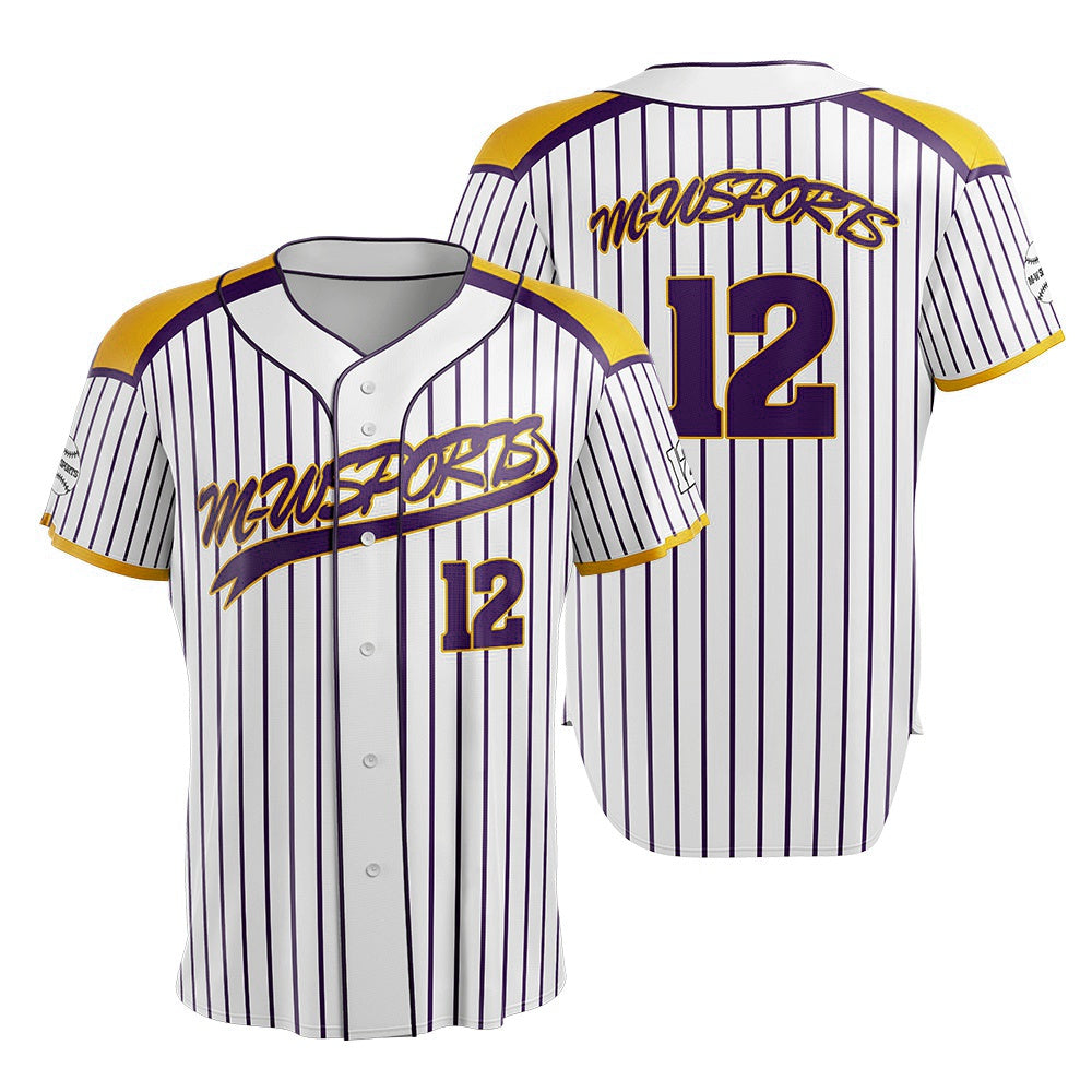 M-W Sport Wholesale Custom Striped Baseball Uniforms Mens white Baseball Jersey Shirts