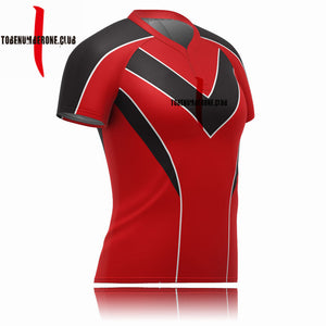 Jersey Rugby Shirt Custom Red Color V Neck Training Equipment Wholesale