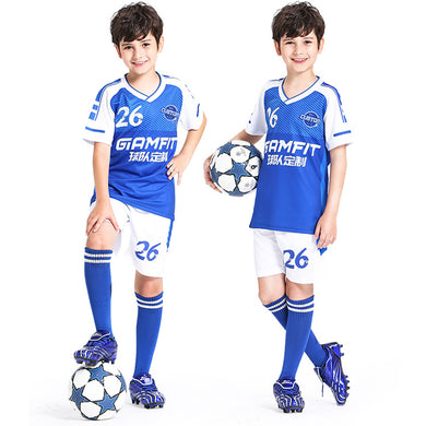 Custom Children Soccer Jerseys Set Customize for Boys Football Kits Training Uniform Set Breathable Sportswear