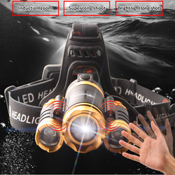LED head-mounted flashlight super bright waterproof 3000 meters