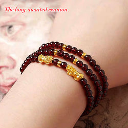 Natural red garnet and pure gold PIXIE bracelet-50%off