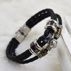 Fashion Hand Woven Leather Sterling Silver Constellation Bracelet