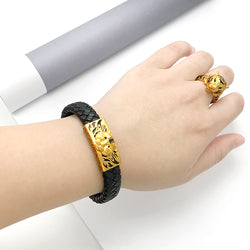 24K3D hard gold men's and women's leather cord bracelet [Christmas 50% off]