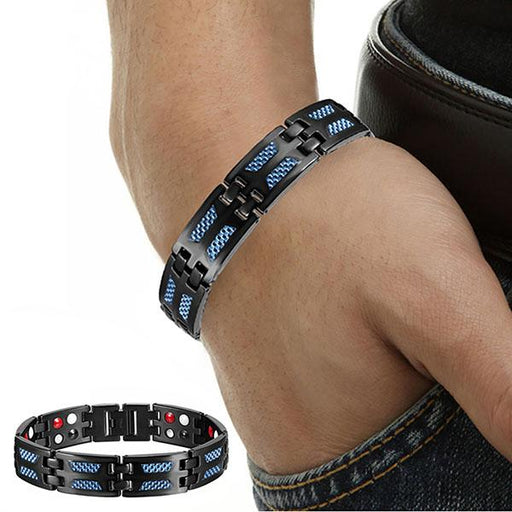 High Quality Titanium Health Magnetic Bracelet, Blue in Color with 4 Elements, for Men or women