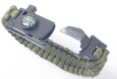 Mortal Survival Bracelet 550 Paracord Bracelet with Compass, Fire Starter, Whistle