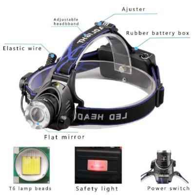 Mortal Survival Light 10W High Power Aluminum Outdoor Rechargeable LED Flashlight Headlamp