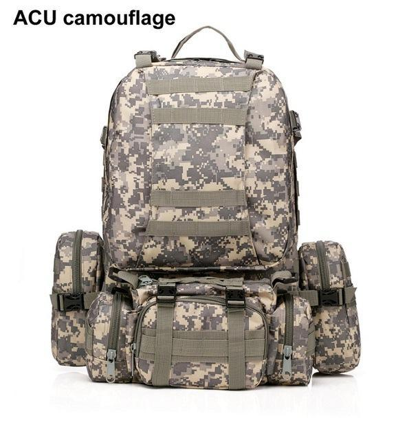 Mortal Survival & More!! Backpack ACU camouflage / 50 - 70L 50L Molle Tactical Waterproof Assault Backpack for Military, Travel, Hiking, Survival and More