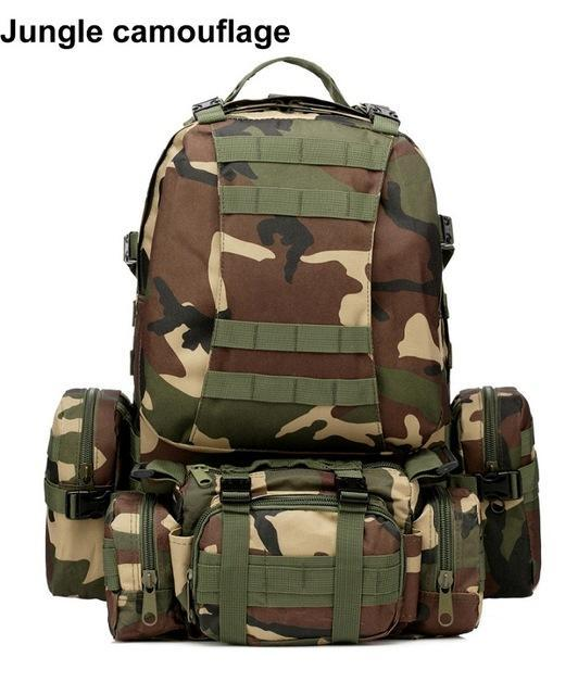 Mortal Survival & More!! Backpack Jungle camouflage / 50 - 70L 50L Molle Tactical Waterproof Assault Backpack for Military, Travel, Hiking, Survival and More