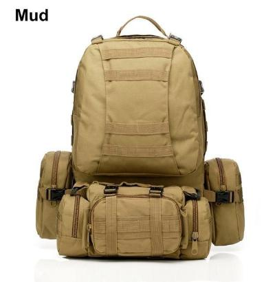 Mortal Survival & More!! Backpack Mud / 50 - 70L 50L Molle Tactical Waterproof Assault Backpack for Military, Travel, Hiking, Survival and More