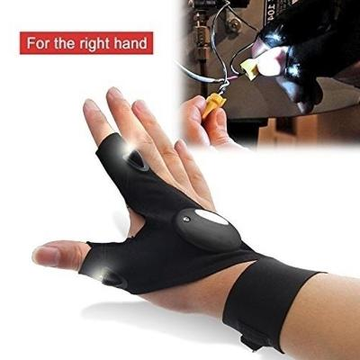 Mortal Survival & More!! Gloves 1 Pair of Led Flashlight Fingerless Gloves for Fishing, Camping, DYI, Home Repairs and More